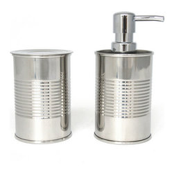 Modern Stainless Steel Sink Set - Set of 2 - At first glance, this sink set includes two sleek stainless steel bathroom essentials. Wipe those bleary eyes and look again. Each one looks exactly like a food can that you'd find in the kitchen cabinet. Consider it a little style sustenance for the unkempt restroom.