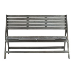 Safavieh - Luca Folding Bench - Ash Grey - Create an urban oasis with the sleek, clean lines of the Luca Folding Bench in ash grey finish. Its organic-style acacia wood and galvanized steel make it a natural choice for a relaxing escape and its clever folding capability makes it perfect for entertaining.