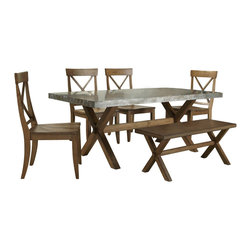 Liberty Furniture - Liberty Furniture Keaton 7 Piece 76x38 Dining Room Set w/ Server in Medium Wood - Crossed trestle base, clean lines, and a casual honey finish give this dining set a relaxed look for your kitchen or casual dining space. A Zinc metal table top offers a modern spin on casual dining that looks great in any home. The table trestle base maximizes foot and leg room while maintaining a stylish allure. The chair's scooped seat and higher back offer comfort and support, while the x-back design, tapered legs, and warm honey finish bring a stylish aesthetic to your dining space. Spice it up with a metal-on-wood dining group centerpiece in your dining room. With a slight mission edge, this casual modern dining set is designed to to last through the years. What's included: Dining Table (1), Side Chair (4), Bench (1), Server (1).