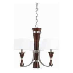 Triarch International - The Brady Mini Chandelier in Brushed Steel Finish - The Brady Collection Mini Chandelier in a Brushed Steel finish with White Drum Shades. 3-60 Watt Candle Base bulbs not included. UL Approved. 22.5 in. W x 20 in. H