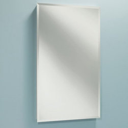 Lighthouse Distribution Corp - Broan-Nutone Focus Frameless 16W x 22H in. Medicine Cabinet B7233 Multicolor - B - Shop for Bathroom Cabinets from Hayneedle.com! The Broan-Nutone Focus Frameless Medicine Cabinet - 16W x 22H in. is sleek and handsome. The simple polished-edge design complements a wide range of decorating styles. The exterior mirror sits flush to the wall. The hidden piano hinge opens easily to reveal lots of recessed storage space on two (larger version has three) adjustable polystyrene shelves and it's reversible to open left or right. The white plastic body won't rust and cleans with a wipe. The painted steel door closes silently on an innovative rubberized magnet closure. It's a handsome accent to any contemporary bathroom. Backed by a one year manufacturer's warranty. Assembles easily with included instructions.Dimensions: 16W x 3.625D x 22H inchesRough opening required: 13.5W x 3D x 17.5H inchesShelf depth: 3D inchesAbout Broan-NuToneBroan-NuTone has been leading the industry since 1932 in producing innovative ventilation products and built-in convenience products all backed by superior customer service. Today they're headquartered in Hartford Wisconsin employing more than 3200 people in eight countries. They've become North America's largest producer of medicine cabinets ironing centers door chimes and they're the industry leader for range hoods bath and ventilation fans and heater/fan/light combination units. They are proud that more than 80 percent of their products sold in the United States are designed and manufactured in the U.S. with U.S. and imported parts. Broan-NuTone is dedicated to providing revolutionary products to improve the indoor environment of your home in ways that also help preserve the outdoor environment.