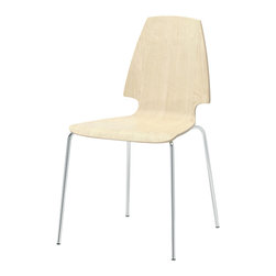 Vilmar Chair, Birch Veneer/Chrome Plated - This dining chair is understated and easy to wipe clean. I love it.