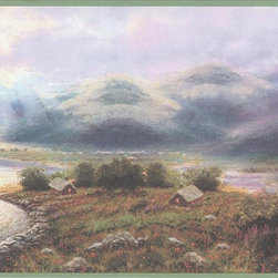 Green Country Scene Wallpaper Border - Green Country Scene Wallpaper Border is 10.25 inches high and 15 feet long. Pattern repeat is 20.5 inches.