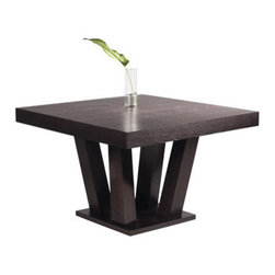 """Sunpan Modern - Madero Dining Table - Features: -Material: Ash and Ash veneer.-Shape: Square.-Inspired by groups of tree trunks sprouting from the earth.-Gives the table an almost organic look while the clean lines remain very modern.-Seats up to four.-Please note that although every attempt has been made to ensure accuracy, all dimensions are approximate and colors may vary.-Madero collection.-Collection: Madero.-Top Finish: Espresso.-Base Finish: Espresso.-Distressed: No.-Powder Coated Finish: No.-Gloss Finish: No.-Top Material: Ash & ash veneer.-Base Material: Ash & ash veneer.-Solid Wood Construction: No.-Reclaimed Wood: No.-Number of Items Included: 1.-Non-Toxic: Yes.-UV Resistant: No.-Heat Resistant: No.-Scratch Resistant: No.-Rust Resistant: No.-Glass Component: No.-Leaf Included: No.-Seating Capacity: 4.-Wine Storage: No.-Shelving Included: No.-Drawers Included: No.-Stemware Holder: No.-Outdoor Use: No.-Swatch Available: No.-Commercial Use: No.-Recycled Content: No.Dimensions: -Overall Height - Top to Bottom: 30"""".-Overall Width - Side to Side: 47"""".-Overall Depth - Front to Back: 47"""".-Legs: -Leg Height - Top to Bottom: 27""""..-Overall Product Weight: 148 lbs.Assembly: -Assembly Required: Yes.-Additional Parts Required: No.Warranty: -Product Warranty: 1 year."""