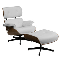 Flash Furniture - Eames Style Top Grain White LeatherSoft Lounge Chair and Ottoman Set with Metal - This Eames style timeless piece of art will be the staple in your home or office with its modern classic design. The Eames Style Lounge will coordinate in any office or home environment. You will definitely feel the comfort with the lounge and ottoman combination. The laminate wood frame contrasts beautifully against the top grain white LeatherSoft upholstery to appeal to everyone.