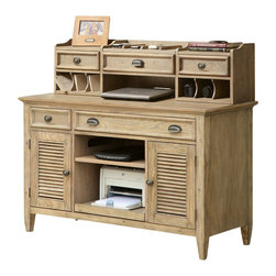 Riverside Furniture - Riverside Furniture Coventry Credenza & Hutch in Driftwood - Riverside Furniture - Computer Desks - 3242332426KIT - Riverside's products are designed and constructed for use in the home and are generally not intended for rental commercial institutional or other applications not considered to be household usage.Riverside uses furniture construction techniques and select materials to provide quality durability and value in our products and allows us to meet the wide range of design and budget requirements of our customers. The construction of our core product line consists of a combination of cabinetmaker hardwood solids and hand-selected veneers applied over medium density fiberboard (MDF) and particle board. MDF and particle board are used in quality furniture for surfaces that require stability against the varying environmental conditions in modern homes. The use of these materials allows Riverside to design heirloom quality furnishings that are not only beautiful but will increase in value through the years.