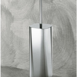 Gedy - Satin Chrome Toilet Brush Holder - Stylish free-standing square toilet brush holder. Modern toilet brush holder is made out of brass with a satin chrome finish. Toilet brush holder includes bristle brush. From Gedy's Joy Collection. Made in Italy. Free standing toilet brush holder. Brass with satin chrome finish. Includes bristle brush. From the Gedy Joy Collection.