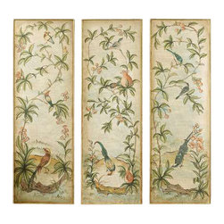 Uttermost Aviary Vintage Art Panels Set/3 - Distressed gold leaf with bronze undertones. This hand painted artwork on canvas is applied to a wood back surrounded by a wood frame with hand applied gold leaf. Due to the handcrafted nature of this artwork, each piece may have subtle differences.
