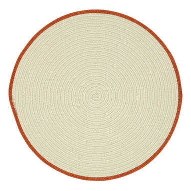 Hableland rug in Cream Pumpkin Pie - We took clean neutral cream and grey and added a fun whimsical pop of color on the edge to coordinate with our Hableland collection of motif hooked rugs. These braids can literally live in any room in your home.