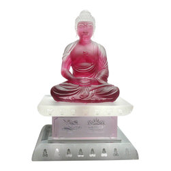 "Golden Lotus - Chinese Crystal Glass Liuli Pate-de-verre Pink Buddha Statue with Stand - Dimensions:   w8"" x d8"" x h13"""