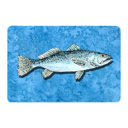 Caroline's Treasures - Fish - Trout Kitchen or Bath Mat 24 x 36 - Kitchen or Bath Comfort Floor Mat This mat is 24 inch by 36 inch. Comfort Mat / Carpet / Rug that is Made and Printed in the USA. A foam cushion is attached to the bottom of the mat for comfort when standing. The mat has been permanently dyed for moderate traffic. Durable and fade resistant. The back of the mat is rubber backed to keep the mat from slipping on a smooth floor. Use pressure and water from garden hose or power washer to clean the mat. Vacuuming only with the hard wood floor setting, as to not pull up the knap of the felt. Avoid soap or cleaner that produces suds when cleaning. It will be difficult to get the suds out of the mat.