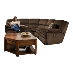 Catnapper - Catnapper Falcon 2 Piece Reclining Sectional in Chocolate and Espresso - Catnapper - Sectionals - 174KIT - The Falcon Collection by Catnapper offers casual contemporary styling in durable chocolate fabric to match any decor. Key features of this collection include dramatic flair arm plush pillow pad seat and comfort pad ottomans. Perfectly correlated designer pillows complete the look. The 2 Piece Sectional includes LSF Section and RSF Section. Matching Rocker Recliner is available as an option.