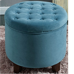 Kinfine USA - Large Round Button-tufted Storage Ottoman - Decorative button tufting on the lid, this large round ottoman features a lift-off lid with piping trim on the base. This multi-functional item works in many rooms, and allows you to group two together for a decorative statement.