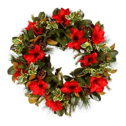 Winward Home - Amaryllis Holly Wreath - This traditional wreath features a holiday mélange of Amaryllis, holly picks, berries, and pine cones for the best Christmas staple for years to come.