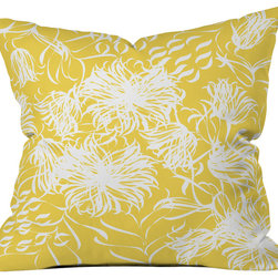 DENY Designs - Vy La Bright Breezy Yellow Throw Pillow - Wanna transform a serious room into a fun, inviting space? Looking to complete a room full of solids with a unique print? Need to add a pop of color to your dull, lackluster space? Accomplish all of the above with one simple, yet powerful home accessory we like to call the DENY throw pillow collection! Custom printed in the USA for every order.