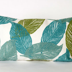 """Liora Manne - Mystic Leaf Rectangle Indoor/Outdoor Pillow in Aqua - Features: -Color: Aqua. -Content: 100% Polyester Microfiber. -Backing: 100% Polyester. -Handmade. -Indoor/Outdoor and antimicrobial. -Removable cover can be hand-washed. -Dimensions: 12"""" H x 20"""" W x 5"""" D, 2 lbs."""