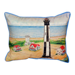 Betsy Drake - Betsy Drake Cape Henry Lighthouse Pillow- Indoor/Outdoor - Cape Henry Lighthouse Pillow- Large indoor/outdoor pillow. These versatile pillows are equal at enhancing your homes seaside decor and adding coastal charm to an outdoor setting arrangment. They feature printed outdoor, fade resistant fabric for years of wear and enjoyment. Solid back, polyfill. Proudly made in the USA.
