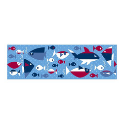 "Wall Pops - Wall Pops Regatta Stripes - This nautical theme wall decor is adorable in a kids room! A cool polka dot blue wall strip stripe, swimming with a school of cool fish, makes a fun border.Dimensions (L x W):  144"" x 6.5"" Material: VinylCountry of Origin: USACare Instructions: Wipe with Damp Cloth"