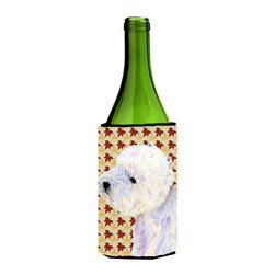 Caroline's Treasures - Westie Fall Leaves Portrait Wine Bottle Koozie Hugger - Westie Fall Leaves Portrait Wine Bottle Koozie Hugger Fits 750 ml. wine or other beverage bottles. Fits 24 oz. cans or pint bottles. Great collapsible koozie for large cans of beer, Energy Drinks or large Iced Tea beverages. Great to keep track of your beverage and add a bit of flair to a gathering. Wash the hugger in your washing machine. Design will not come off.