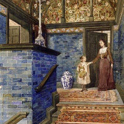 Staircase Hall With William De Morgan Tiles 16 x 10.61 Art Print On Canvas - Staircase Hall With William De Morgan Tiles by T. Hamilton Crawford Size: 16 x 10.61 Art Print Poster. Canvas Transfer stretched and canvas museum wrap. Comes ready to hang. Canvas board is an off white color.