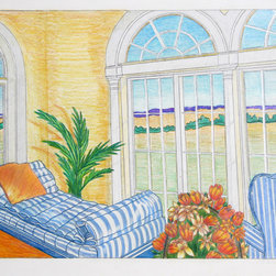 Cindy Wolsfeld, Room with a View, Pencil Drawing - Artist:  Cindy Wolsfeld