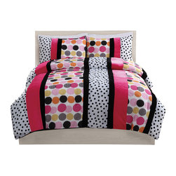 Pem America - Dani Dot Hot Full Comforter with Shams - This pieced fun bed features vertical stripes of black and white dots, hot pink and solid black with a fun large scale multi colored dot pattern on the face.  The pink stripes in this pattern are a hot pink solid color ping fleece material for a fun splash of texture. This is the perfect wake up call to any room. Full comforter 76 x 86 inches and two standard shams 20x26 inches. Face cloth is pieced prints and fleece material of 100% polyester.  Filled with 100% hypoallergenic polyester. Dry clean only.
