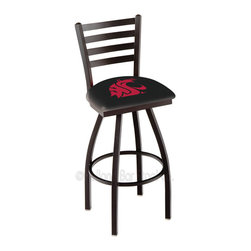 Holland Bar Stool - Holland Bar Stool L014 - Black Wrinkle Washington State Swivel Bar Stool - L014 - Black Wrinkle Washington State Swivel Bar Stool w/ Ladder Style Back belongs to College Collection by Holland Bar Stool Made for the ultimate sports fan, impress your buddies with this knockout from Holland Bar Stool. This contemporary L014 Washington State stool carries a defined Ladder-style-back that doesn't just add comfort, but sophistication. Holland Bar Stool uses a detailed screen print process that applies specially formulated epoxy-vinyl ink in numerous stages to produce a sharp, crisp, clear image of your desired logo. You can't find a higher quality logo stool on the market. The plating grade steel used to build the frame is commercial quality, so it will withstand the abuse of the rowdiest of friends for years to come. The structure is powder-coated black wrinkle to ensure a rich, sleek, long lasting finish. Construction of this framework is built tough, utilizing solid welds. If you're going to finish your bar or game room, do it right- with a Holland Bar Stool. Barstool (1)