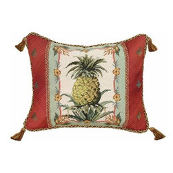 123Creations - Pineapple Needlepoint Pillow 16 x 20 Pillow - -100% Wool Hand Embroidered 123Creations - C822-16X20