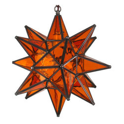 Mexican Artisans - Glass Star Light, Orange - A European tradition dating back to the 19th century, Moravian star lights were displayed in windows during the days leading up to Christmas. Indeed Decor's distinctive glass star lights illuminate an eye-catching radiance whether turned on or off.