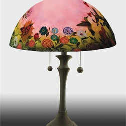 Barthell, Jamie - Hummingbird in the Garden Reverse Hand Painted Glass Table Lamp - This beautiful hand painted glass table lamp shown here in the  Hummingbird in the Garden design will make a stunning addition to any  room. Each piece is an original work of art that is signed and numbered,  and includes a certificate of authenticity