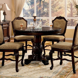 "Acme - 5-Piece Chateau De Ville Ii Collection Espresso Finish Wood Round Dining Set - 5-Piece Chateau De Ville II collection espresso finish wood round counter height pedestal dining table set with diamond pattern fabric padded chairs. This set features a round counter height table with decoratively carved accents, 4 - side chairs with a diamond pattern fabric padded back. Table measures 48"" Dia. x 36"" H. Chairs measure 24"" H seat height. Some assembly required."