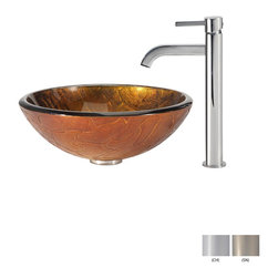 Kraus - Kraus Triton Glass Vessel Sink and Ramus Faucet Chrome - *Add a touch of elegance to your bathroom with a glass sink combo from Kraus