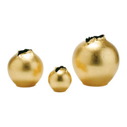 Arteriors Lame' Porcelain Organic Vases - These beautiful vases look like they were spun from gold. In truth, they are porcelain covered in gold leaf. The inside is onyx-black gloss, which adds a chic touch.