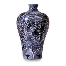 Dragon Meiping Vase - Black and White - Place it where you will, the striking coloration and detailed floral motif of the Dragon Meiping Vase - Black & White is certain to entice the eye in the same manner that a rare and treasured artwork would. Fashioned from fine porcelain, the vase is generously scaled, allowing the piece to dramatically enhance an occasional table, sideboard, or glass-fronted china cabinet.