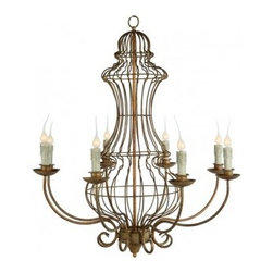 The Genie Urn Chandelier - Designed from our most popular garden wire shape, this gold leafed chandelier is the perfect blend of garden architecture and elegant dining.