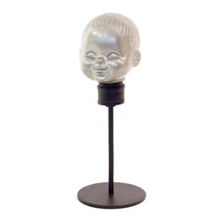 Go Home - Go Home Large Vintage Dollhead Form - Large Vintage Dollhead Form has head molded with aluminum and polished with hand rubber finish. The stick features dark color while the face of the doll is painted silver. This vintage doll head will embellish any corner of your dwelling and will also make a superb gift on any occasion.
