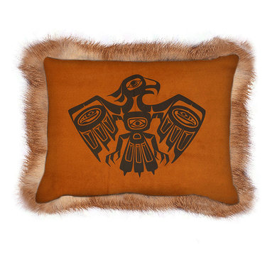 "INUKT.com - Wuti - This pillow has ""Welcome to my country home in the woods"" written all over it. The iconic eagle and inspirational quote is printed on a suedine with real fox fur all around. It will add a luxury edge to the charm of any wood cabin."