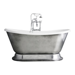 """The Tub Studio - 'Christoforo'  Acrylic French Bateau Tub Package with Aged Chrome Exterior , 59"""" - Product Details"""