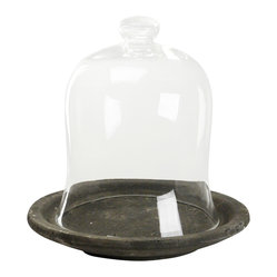 Zentique - Covered Dish - Add a touch of drama to your room with this decorative covered dish. The rustic clay dish is topped with an attractive, bell-shaped glass cover. Pair it with an ornamental candle for a sultry look.