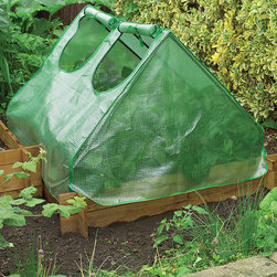 World Source Partners - Green Cloche Cold Frame - Protect early crops from the cold with this cloche cold frame. Boasting a heavy-duty frame, reinforced cover, and rollback access for easy ventilation and tending, this is a must-have for any green thumb.   47'' W x 24'' H x 24'' D Steel / polyester Imported