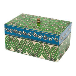 Sitara Collections - Hand-Painted Mango Wood Box with Lid (Medium) - This Enchanting Wooden Box Helps You Stay organized While adding a Dash of Decorative Panache. Stash Everything From Jewelry to Playing Cards to Recipes in this Versatile Box, Which Features a Bold Blue and Green Design. topped with a Brass Pull for Easy Opening and a Hint of Shine. Dimensioms: 3 inches High X 6 inches Wide X 4 inches Deep Color/Finish: Green, White, Gold, Blue Materials: Mango Wood, Brass Knob Hardware included: Yes the Wooden Chests are Made in Jodhpur, Rajasthan the Paintings om the Wooden Chests are Hand Dome by artisans. Families Doing the Craft Go as Far as 3Rd or 4Th Generatiom.