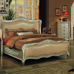 Yuan Tai Furniture - Bellavue Eastern King Bed with Leather - BE7001K - Solid Hardwoods and wood veneers