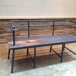 Raw Bench - Handmade bench from steel pipe and rough cut recycled old growth wood. Nothing to hide, neat and comfortable.