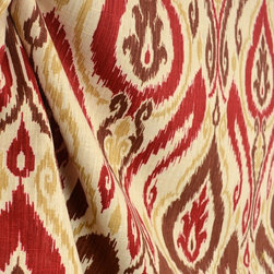 Raja Spice Ikat Damask Real Linen Drapery Fabric By The Yard - Pattern Raja in the color Spice is a real linen fabric. Ikat damask pattern will make a great pillow, ottoman or window treatment.