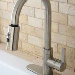 None - Modern Satin Nickel Single Handle Faucet with Pull-Down Spout - Make your bathroom a modern wonderland with the addition of this contemporary single handle faucet. The pull lever lets you quickly adjust the heat or strength of the faucet, and the satin nickel finish easily matches to bathroom hardware.
