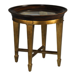 Ambella Home - Luna End Table - Set the tone for luxury in your decor. A rich gold finish, burnished for subtlety, makes this glass-topped end table the perfect addition to your favorite traditional setting.