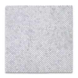 Carrara White River Rocks Pebble Stone Mosaic Tile Tumbled - Marble from Italy - Premium Grade Shell Shaped Carrara Marble Mosaic tiles. Italian Bianco Carrera White Venato Carrara Polished 12 x 12 Mini Fish Scale Fan Shaped Mosaic Wall & Floor Tiles are perfect for any interior/exterior projects. The Carrara White Marble Shell Shaped Fish Scale Mosaic tiles can be used for a bathroom flooring, shower surround, gardern, paving, balcony, corridor, terrace, spa, pool, fountain, etc. Our Premium White Carrera Marble 1 inch Fan Shaped Fish Scale Mosaic tiles with a large selection of coordinating products is available and includes white marble hexagon, herringbone, basketweave mosaics, 12x12, 18x18, 24x24, subway tiles, moldings, borders, and more.