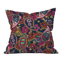 DENY Designs - Rachelle Roberts Boho Paisley Navy Throw Pillow - Wanna transform a serious room into a fun, inviting space? Looking to complete a room full of solids with a unique print? Need to add a pop of color to your dull, lackluster space? Accomplish all of the above with one simple, yet powerful home accessory we like to call the DENY throw pillow collection! Custom printed in the USA for every order.