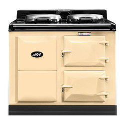 AGA Traditional Electric 2 Oven Cooker, Cream | A2O-E-CRM - An electrically powered warm air recirculation system (patent pending) provides the heat which maintains the cooker's operating temperature and provides perfect radiant heat cooking. No gas means no need for an outside vent, freeing you to place your AGA anywhere in your kitchen; an island, a pass-through, wherever you like.
