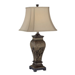 Lite Source - Table Lamp - Aged Silver/Two Tone Fabric Shade - Table Lamp - Aged Silver/Two Tone Fabric Shade